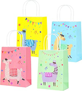 QMZ Llama Party Favor Bags Llama Goodie Bags for Kids Llama Themed Birthday Baby Shower Party (Pink Blue Green Yellow) - 12PCS