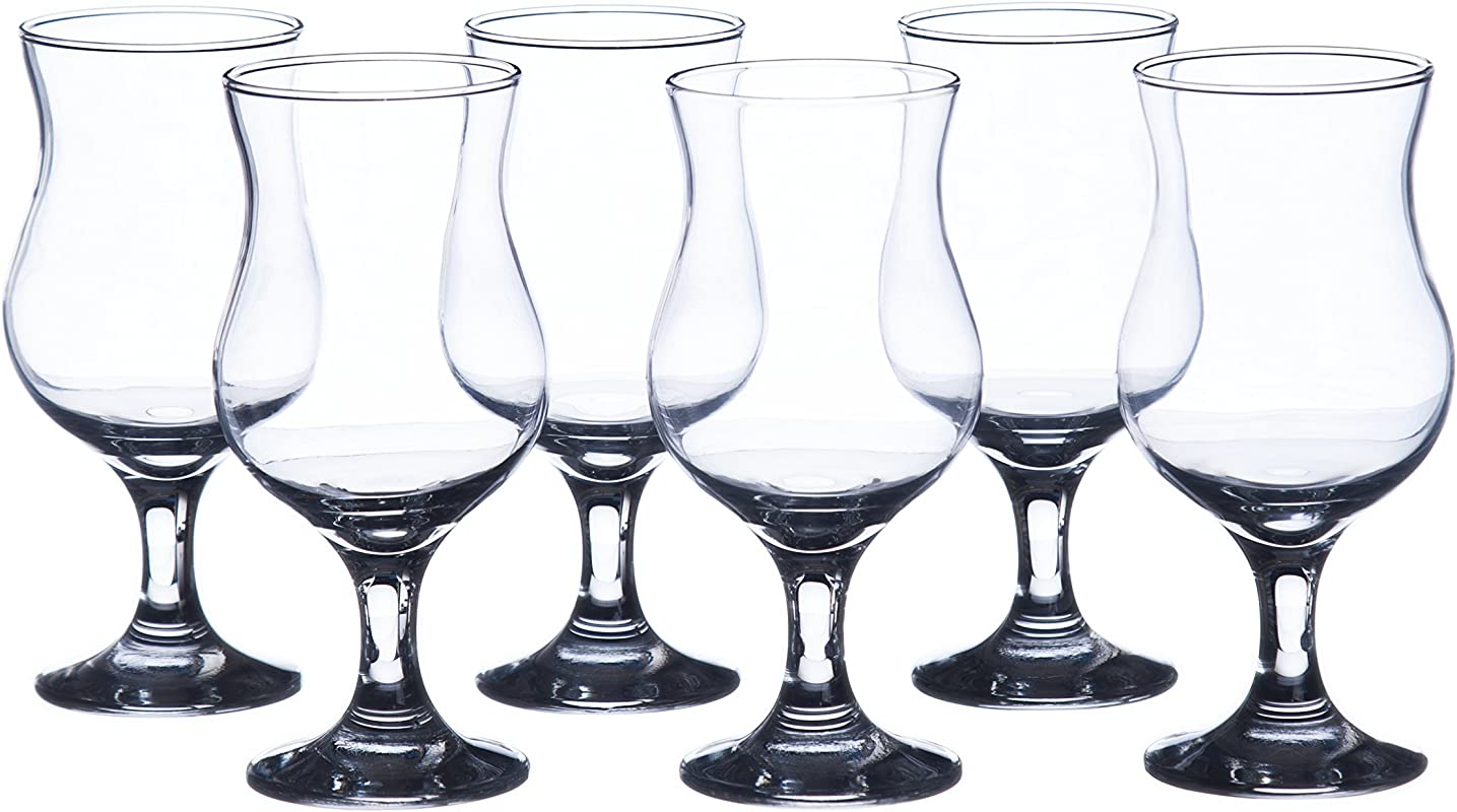 MADERIA Hurricane Cocktails Glasses Sets 13 Oz 6 Piece Set 12 Piece Set Durable Tempered Glass Restaurant Hotel Quality 12