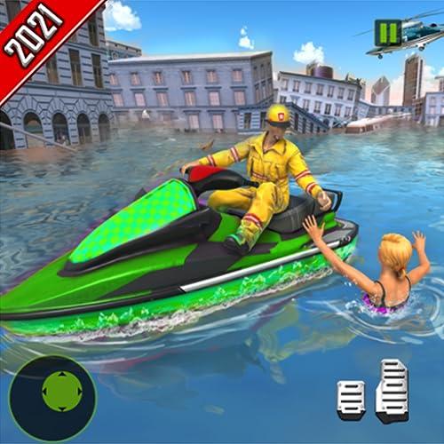 simulador de rescate de héroe de jet ski flood