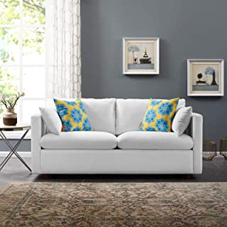 Modway Activate Contemporary Modern Fabric Upholstered Apartment Sofa Couch In White