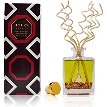 HOUZZ Interior Autumn Lodge Reed Diffuser Oil Set – A Woodsy Fall Scent of Cinnamon Sticks, Nutmeg and Clove Layered with Apple, Cedar and Sandalwood – Made in The USA