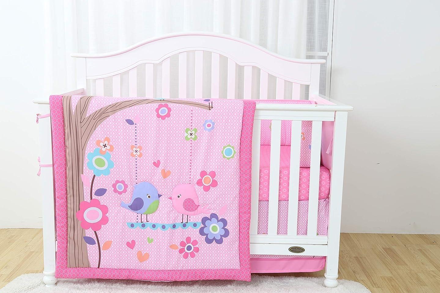 California Drapes 4PC Crib Bedding Set, 1 Comforter, 1 Bumper, 1 Fitted Sheet & 1 Dust Ruffle - Love Birds