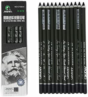 Charcoal Pencil Set - 12pcs/pk - Black Free Cutting Paper Handle Charcoal Pencil C7350 (Medium)