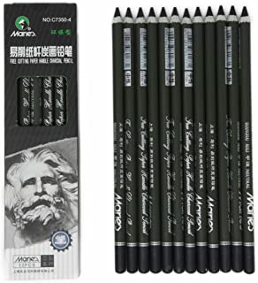 Charcoal Pencil Set - 12pcs/pk - Black Free Cutting Paper Handle Charcoal Pencil C7350 (Super Soft)