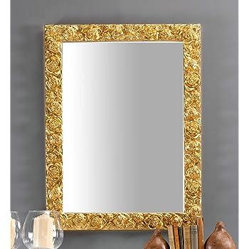 74x100 made in Italy Specchiera da parete cornice legno decapata foglia oro cm