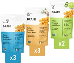 BRAMI Lupini Beans Snack, Variety Pack | 9g Plant Protein, 0g Net Carbs | 2.3 oz (8 Pack) | Vegan, Vegetarian, Keto, Medit...