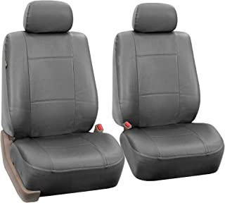 FH Group PU002SOLIDGRAY102 Gray Faux Leather Front Bucket Seat Cover, Set of 2 Airbag Compatible