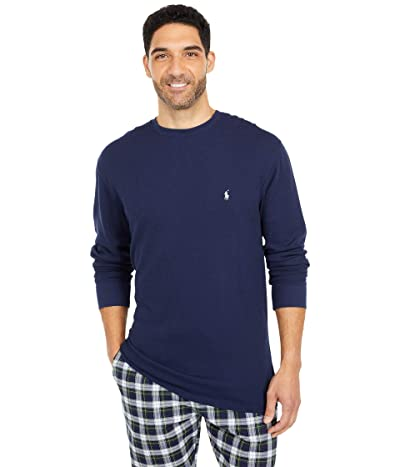 Polo Ralph Lauren Big Midweight Waffle Long Sleeve Crew (Cruise Navy/Nevis Pony Player) Men