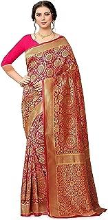 SilverStar Women's Soft Banarasi Silk Saree with Running Plain un Stitched Blouse Piece Pink