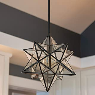 Decor Therapy CH1877 Star Shaped One Light Pendant, Black