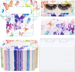 50 Pieces Empty Eyelashes Packaging Box with 50 Pieces Tray, Paper Lash Storage Boxes False Eyelash Holder Case Eyelashes Container for False Eyelash Care, Cosmetic Tools (Colorful Butterfly)