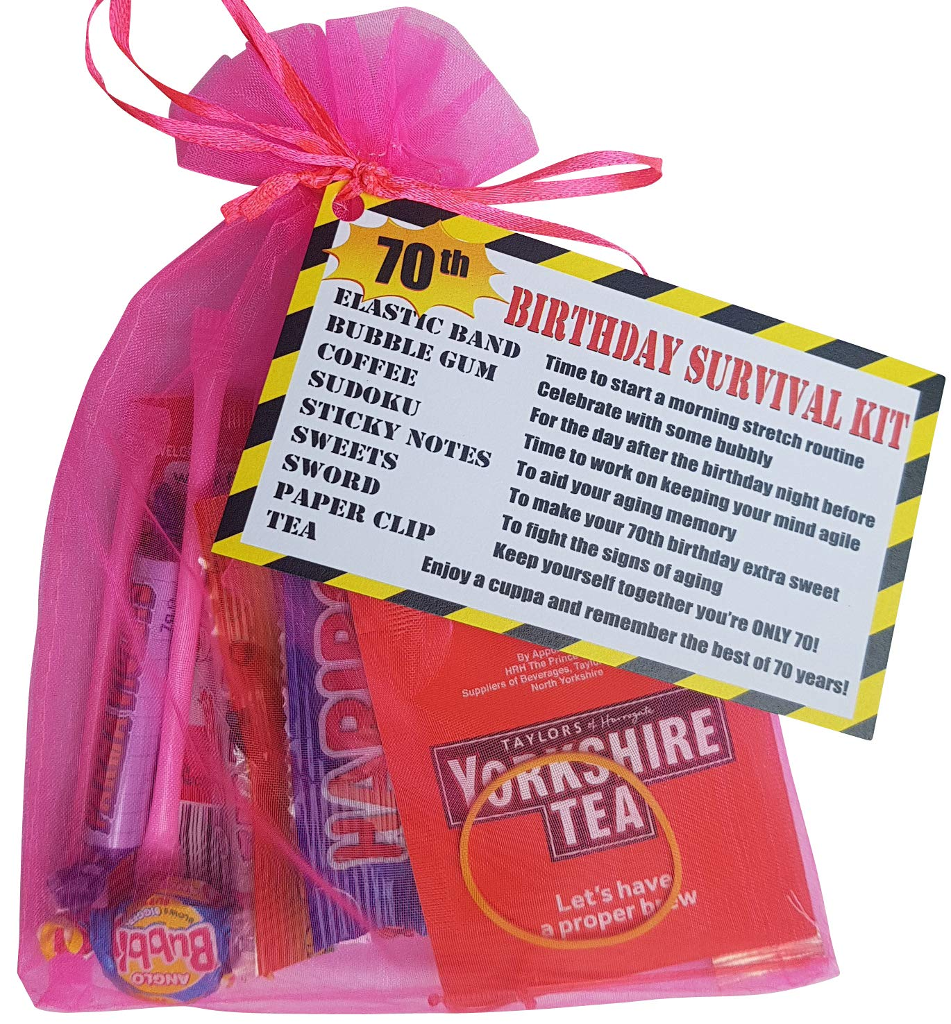 Pink 70th Birthday Survival KIT Gift/Present - a Fun Cheeky Gift to Make  Them Smile Birthday idea for Mum Sister Female Friend: Amazon.co.uk: Office  Products