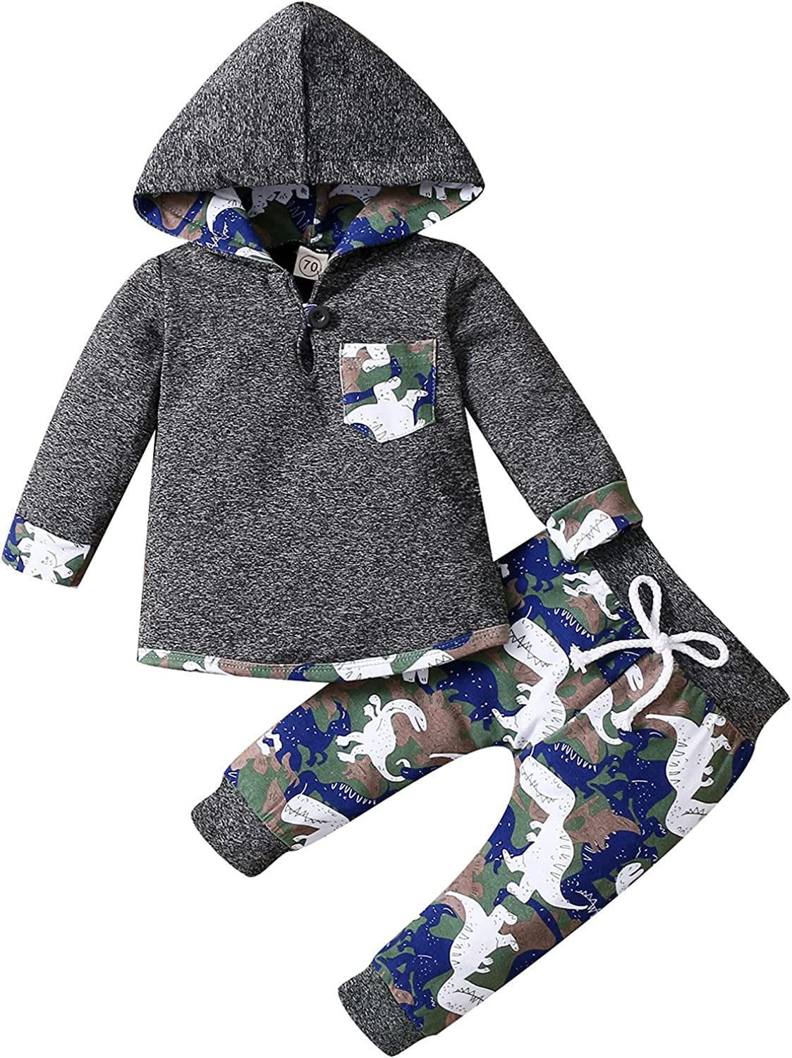 Newborn Baby Boy Clothes Infant Long Sleeve Hoodie Tops Dinosaur Print Pants Fall Winter 2pcs Outfit Set