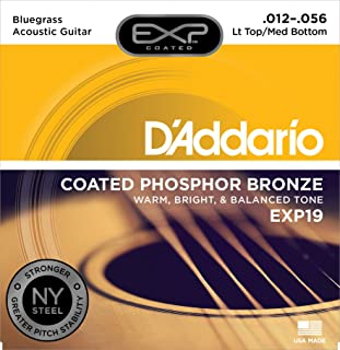 D'Addario EXP19 Coated Phosphor Bronze Acoustic Guitar Strings, Light, 12-56 – Offers a Warm, Bright and Well-Balanced Acoustic Tone and 4x Longer Life - With NY Steel for Strength and Pitch Stability
