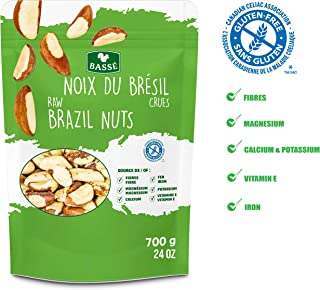 Basse Raw Brazil Nuts, Shelled, Whole, Unsalted, Resealable Bag, Gluten Free, Kosher Certified (24 Ounces)