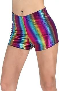 PINKPHOENIXFLY Women's Shiny Booty Shorts Rave Dance Bottoms