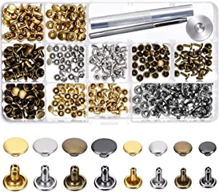 240 Sets Leather Rivets, Alritz Double Cap Rivet Tubular 4 Colors 2 Sizes Metal Studs with Fixing Tools for DIY Leather Craft/Clothes/Shoes/Bags/Belts Repair and Decoration