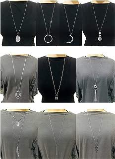 Ofeiyaa 10Pcs Long Pendant Necklace Simple Moon Bar Three Triangle Tassel Lock Sweater Y Shape Punk Chain Choker Necklace for Women Girls Gold Silver Tone