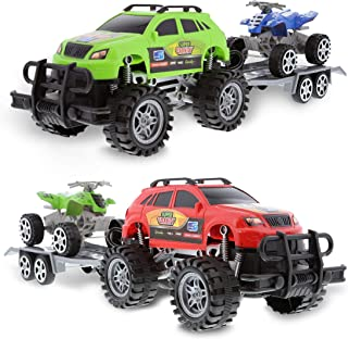 Mozlly Friction Powered Monster Trucks Car Toy SUV Towing ATV Toys Set of 2 - Monster Truck with Trailer ATV Toys for Fun ...