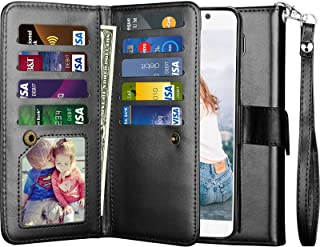Njjex for Galaxy Note 5 Case, for Samsung Note 5 Wallet Case, PU Leather [9 Card Slots] ID Credit Cash License Protective Folio Flip Cover [Detachable] [Kickstand] Phone Case & Wrist Strap [Black]