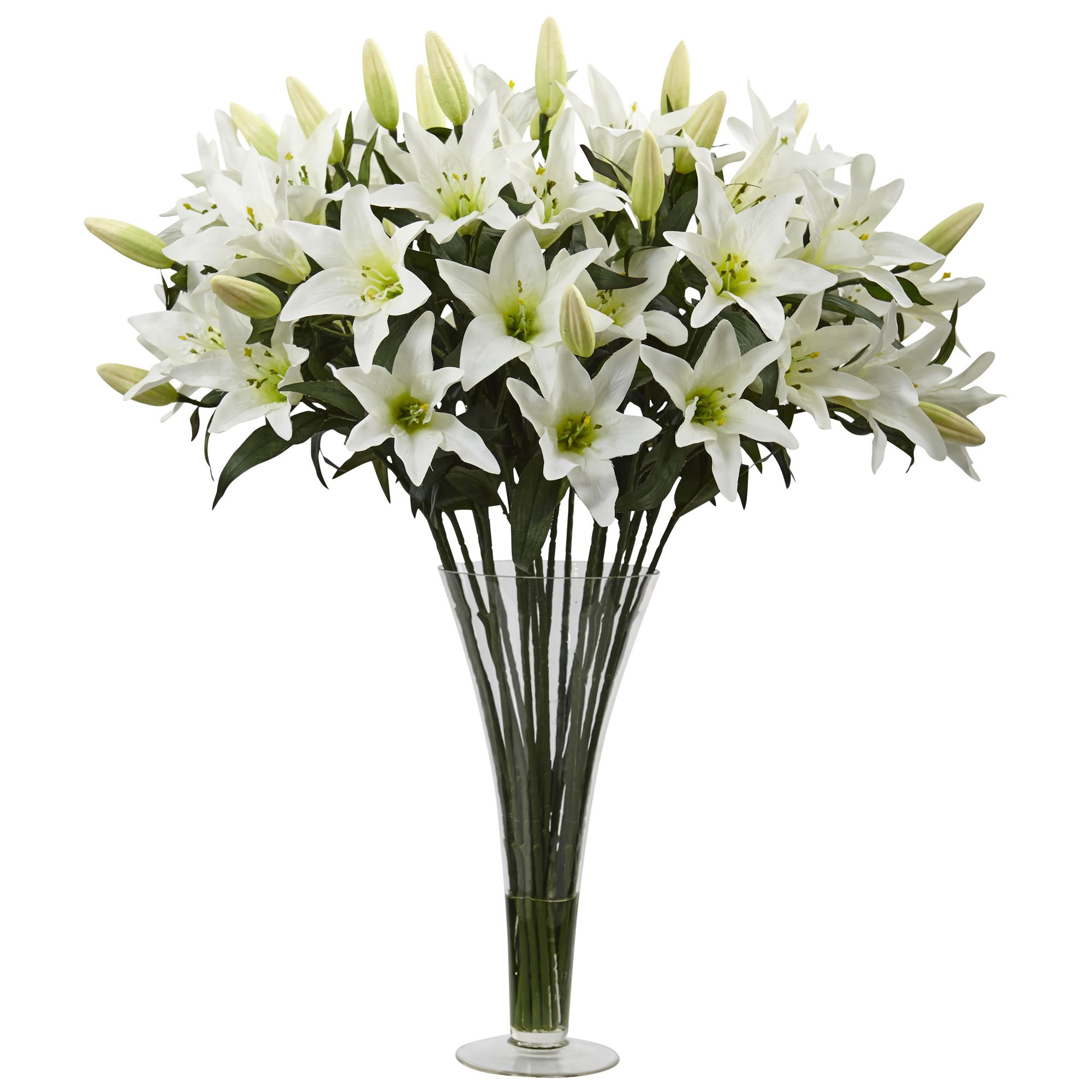 Nearly Natural 1430 Lily Silk Arrangement with Flared Glass Vase