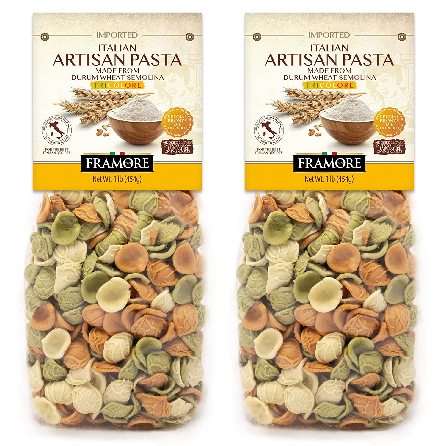 FRAMORE Tricolor Outlet SALE Orecchiette Pasta specialty shop Italian two of one pound Pack