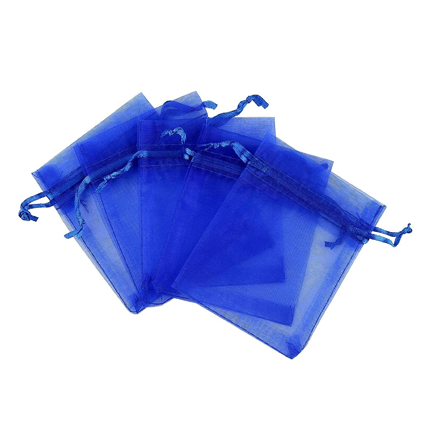 Fengirl Drawstring Organza Jewelry Pouches Wedding Party Christmas Favor Gift Candy Bag (4x6inch, Blue)
