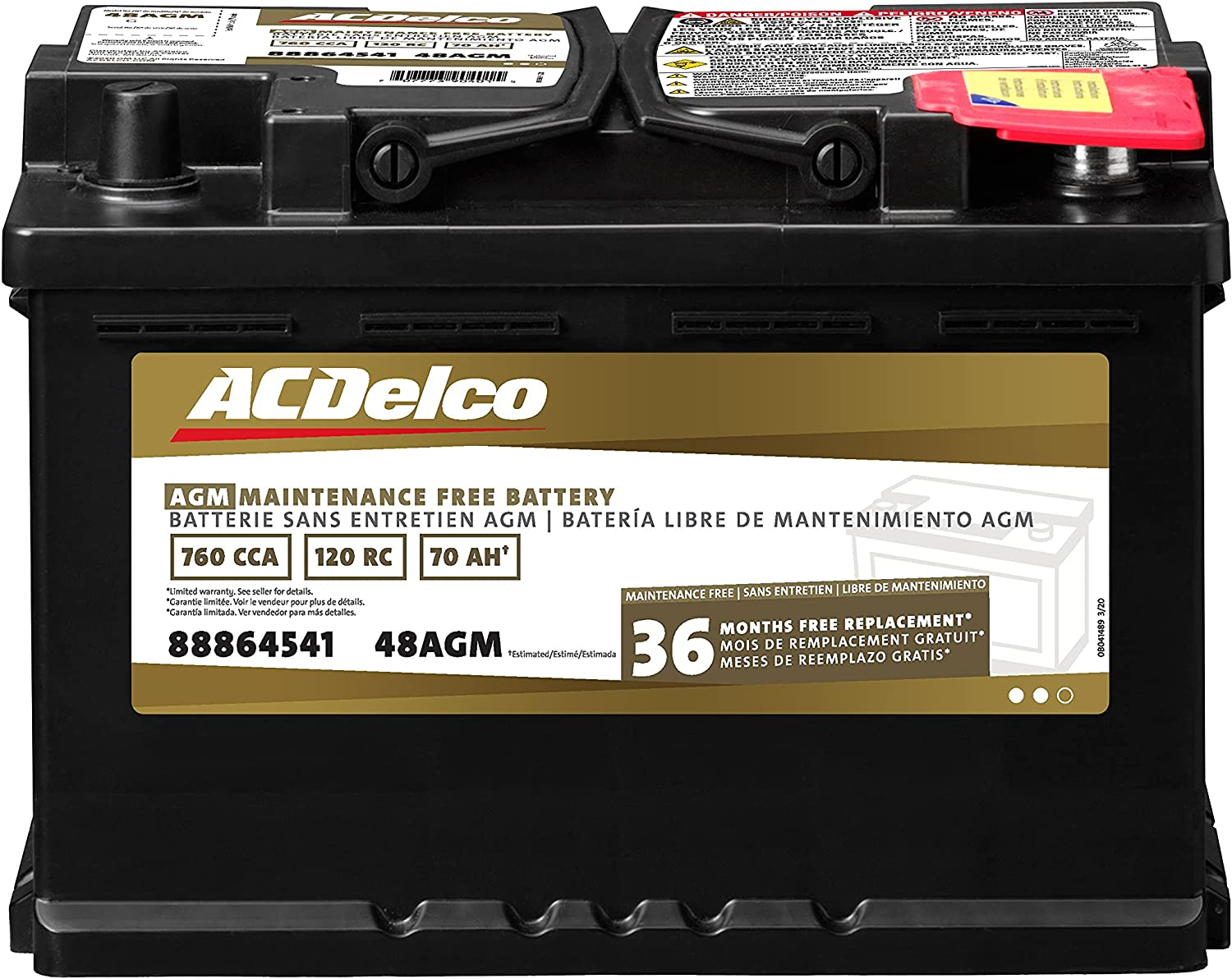 ACDelco Gold 48AGM 36 Month Warranty AGM BCI Group 48 Battery Standard