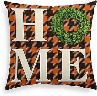 AVOIN Boxwood Wreath Home Throw Pillow Cover, Fall Thanksgiving Easter Buffalo Check Plaid 18 x 18 Inch Farmhouse Cushion ...