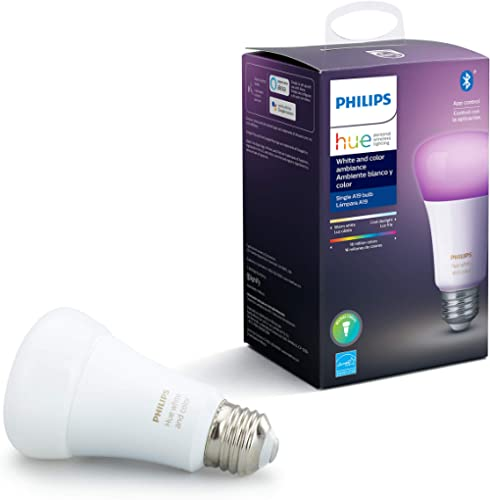 Philips Hue White and Color Ambiance A19 LED Smart Bulb, Bluetooth & Zigbee Compatible (Hue Hub Optional), Works with...