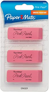 Paper Mate Pink Pearl Erasers, Medium, 3 Count (70502)