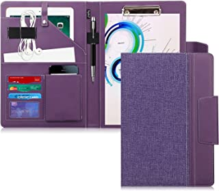 Toplive Portfolio Case Padfolio, Executive Business Document Organizer with Letter Size Clipboard, Business Card Holder, Tablet Sleeve, for Business School Office Conference, Purple