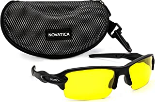 d70a886231d NOVATICA Anti Glare Night Driving Polarized TAC Glasses - HD Night Vision -  UV Protection - Sport Sunglasses - Men   Women - Yellow TAC Clear Lenses ...