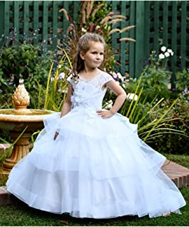 038c021de19 TriumphDress Big Girls White Chic Lace Los Angeles Flower Girl Dress 6 7