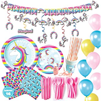 Unicorn party supplies decorations set 176 piece for birthday party-Serves 16 guests-birthday bunting,straws,blowouts whistles,Unicorn headband,pink satin sash for girls,princess girls Party favors