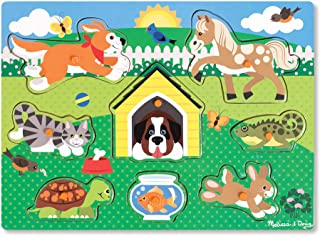 Melissa & Doug Wooden Toy Peg Puzzle - Pets Puzzles Wooden Toy 3+ Gift for Boy or Girl
