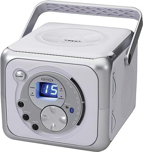 Jensen FM Stereo CD555 Bluetooth Boombox, Silver, 7.00 x 9.75 x 6.00 inches