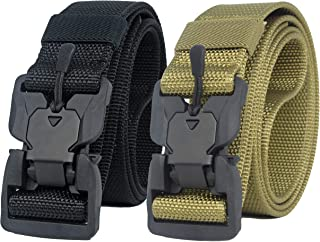 Longwu Hebilla súper magnética Lona de nylon de liberación rápida Cinturón táctico militar transpirable para hombres y muj...