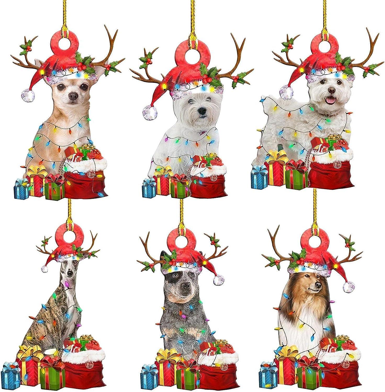 6 unidades de adornos navideños 2021 de madera con forma de perro y árbol de Navidad para colgar estatuas de Navidad inastillables bolas decorativas para belén DIY bendición cachorro ciervo colgante