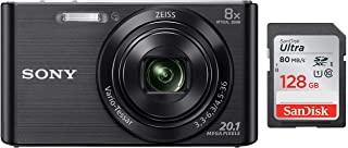 Sony DSC W830 Cyber-Shot 20.1 MP Point and Shoot Camera (Black) with 8X Optical Zoom + SanDisk 128GB Ultra SDXC UHS-I Memo...