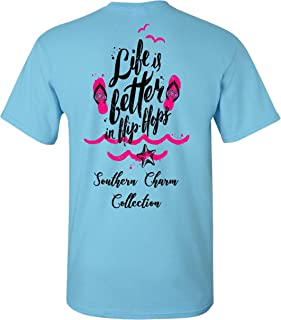 Life is Better in Flip Flops Southern Charm Collection on a Sky Blue Short Sleeve T Shirt