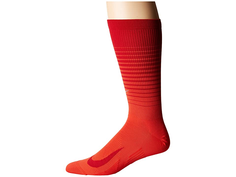 Nike Elite Lightweight Graphic Crew Running Socks (Habanero Red/Gym Red) Crew Cut Socks Shoes
