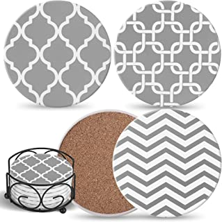 Coasters For Drinks Absorbent with Holder - 6 Gray Ceramic Stones with Mix Patterns & Cork Back, Use as House Decor, Livin...
