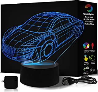 Novelty Gift 3D Illusion Lamp Car 7 Color LED Does Not Get Hot Comes with Mains Plug and USB Cable This 3D Nightlight is Perfect As A Boys Night Light Makes Them Feel Safe at Night by rainbolights