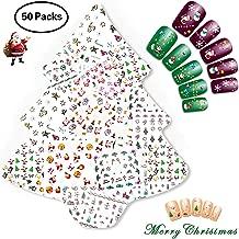 NiceDeco 50 Sheets Christmas & New Year Theme 3D Nail Stickers Cute Santa Claus Reindeer Snowman Christmas Tree Nail Art Tattoo Nail Decals DIY Nail Art Decoration Self-adhesive Tip Stickers