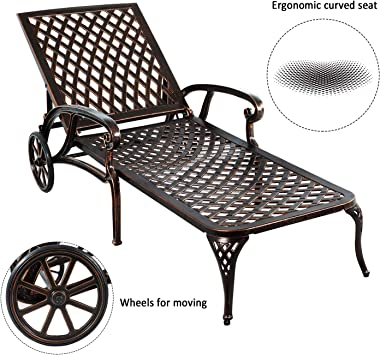 HOMEFUN Chaise Outdoor Aluminum Wheels Lounges Chair Adjustable Reclining Patio Furniture Set, Pack of 2 (Antique Bronze), 2P