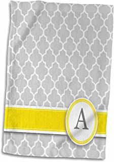 3D Rose Your Name Initial Letter A-Monogrammed Grey Quatrefoil Pattern-Personalized Yellow Gray Towel, 15