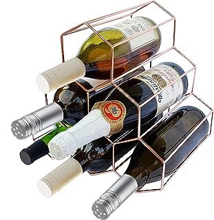 Wine Rack Rose Gold Holds 6 Bottles Tabletop Countertop
