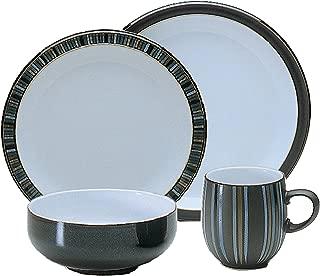 Denby 16-Piece Jet Stripes Dinner Set, Black, Set of 4