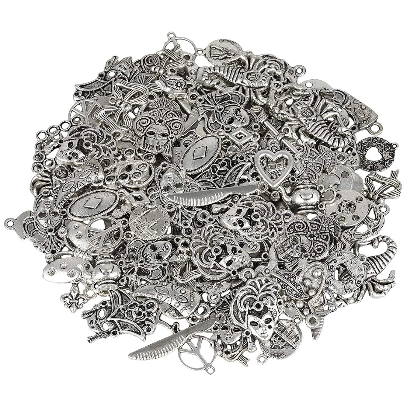 SUNYIK Vintage Tibetan Silver Loose Spacer Charms for Jewelry Making DIY 0.5lb (230 Grams), 0.2